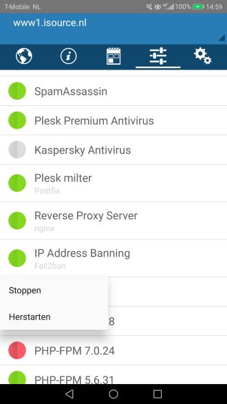 Plesk Mobile app services herstarten